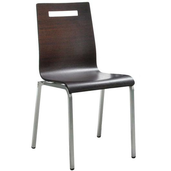 Stapelstuhl aus Schichtholz und Stahl Wengefarben