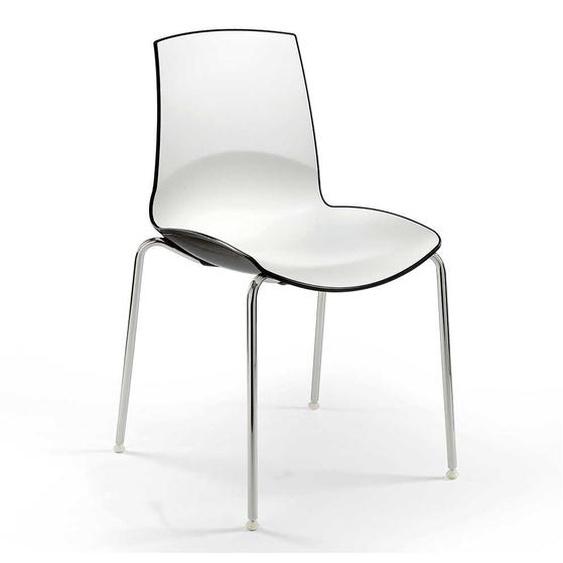 Stapelstuhl in Weiß und Schwarz hochglänzend (2er Set)