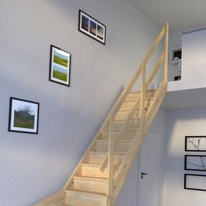 STARWOOD Raumspartreppe »Korfu«, geschl. Stufen, 1/4 rechts gewendelt, Holzgeländer rechts