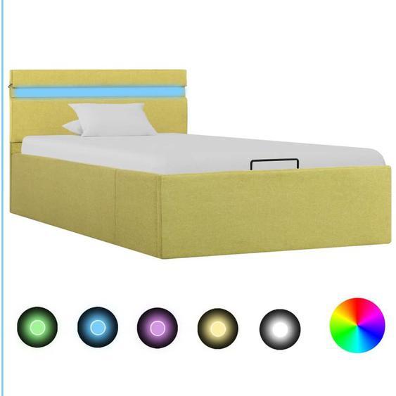 Hommoo Stauraumbett Hydraulisch mit LED Grün Stoff 100 x 200 cm VD25783