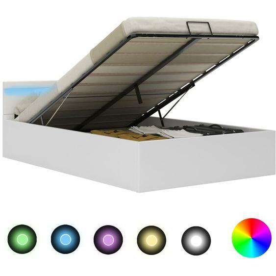Hommoo Stauraumbett Hydraulisch mit LED Weiß Kunstleder 120x200 cm VD25712