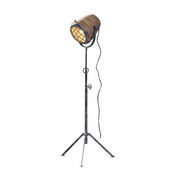 Stehlampe aus Mangobaum Massivholz Eisen