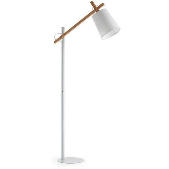 Stehlampe aus Stahl und Buche Massivholz Weiß