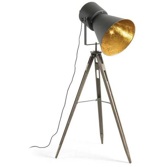 Stehlampe im Industriedesign Stahl und Buche Massivholz
