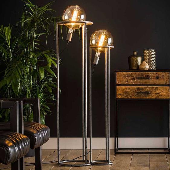 Stehlampe in Altsilberfarben 120 cm hoch (2-teilig)