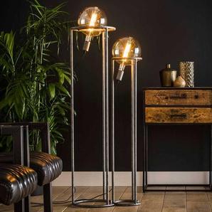 Stehlampe in Altsilberfarben 120 cm hoch (zweiteilig)