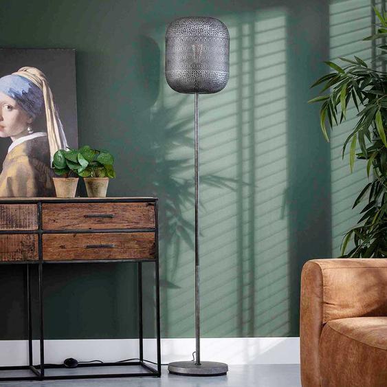 Stehlampe in Altsilberfarben Industriedesign