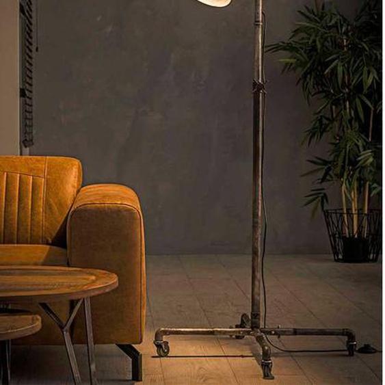 Stehlampe in Altsilberfarben Metall 145 cm hoch