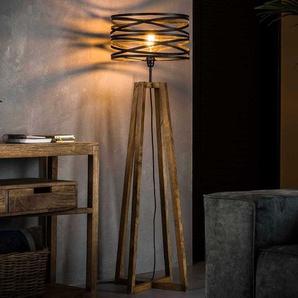 Stehlampe in Dunkelgrau Massivholz und Metall