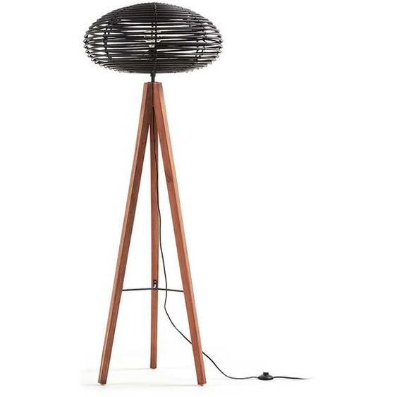 Stehlampe mit rundem Rattanschirm Schwarz