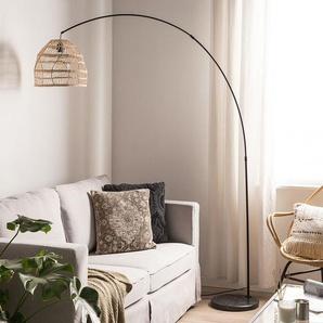 Stehlampe Rattan natürlich 195 cm rund Marmorfuß GUAVIARE