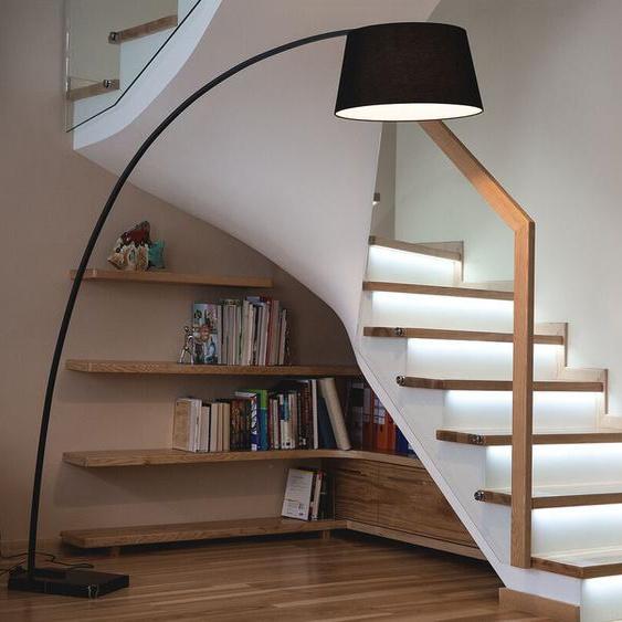 Stehlampe schwarz 188 cm rund Marmorfuß BENUE