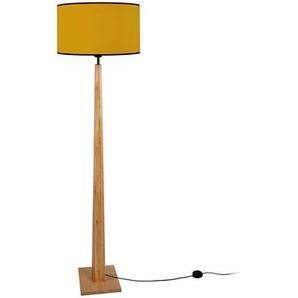 Stehleuchte mit gelbem Lampenschirm und hellem Holzsockel NIDRA