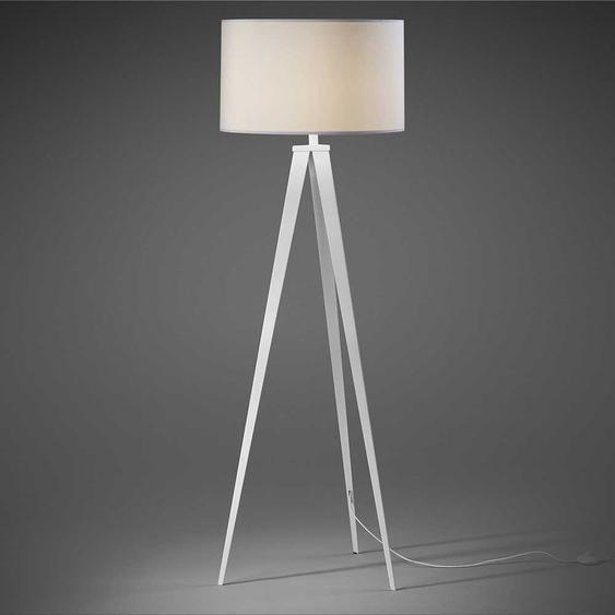 Stehleuchter im Skandi Design weißem Stoffschirm