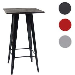 Stehtisch HWC-A73 inkl. Holz-Tischplatte, Bistrotisch Bartisch, Metall Industriedesign 107x60x60cm ~ schwarz