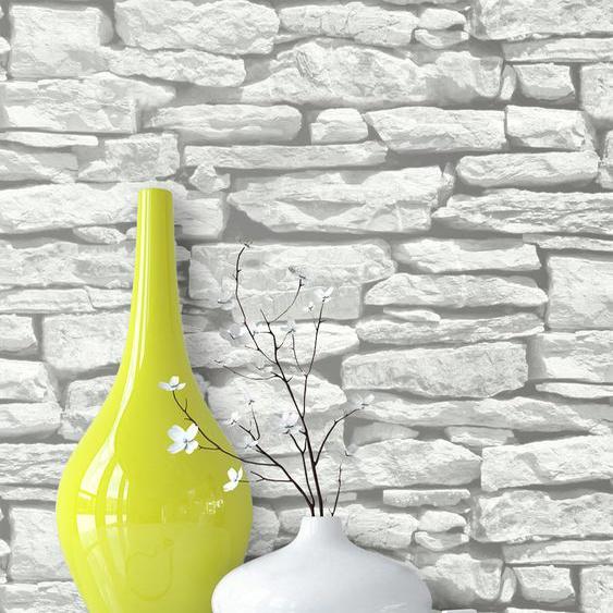 Steintapete Ziegelstein Grau Weiß Papier Landhaus Lennon Weiß