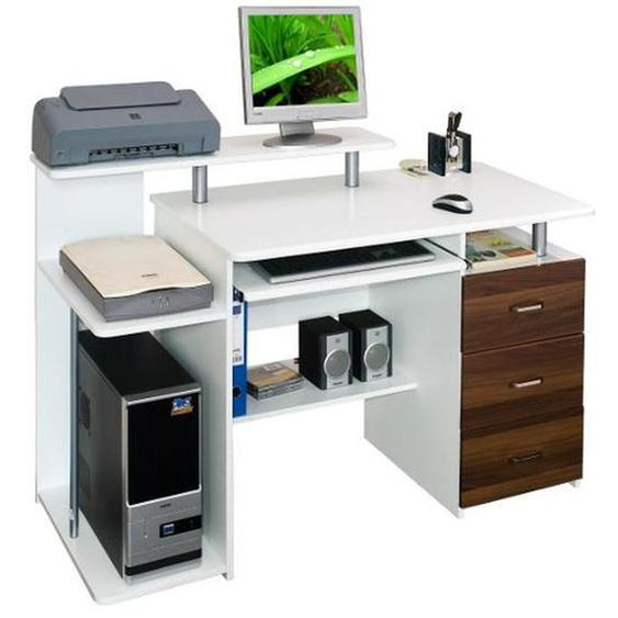 STELLA | 137x60 - Schreibtisch Walnuss / Weiß