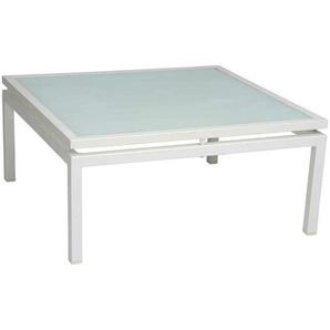 Stern Skelby Loungetisch 75x75cm Aluminium/Glas Weiß