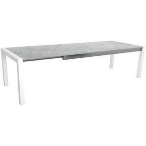 Stern Standard Ausziehtisch Aluminium Tischplatte Dekton 214/274x100 cm Weiß Lava hellgrau