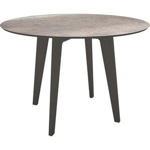 Stern Tisch Ø 110 cm Aluminium mit Tischplatte Silverstar 2.0 Anthrazit Smoky
