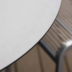 Stern Tisch Ø 110 cm Aluminium mit Tischplatte Silverstar 2.0 Weiß Uni Grau