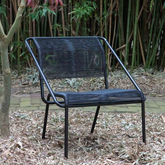 Stühle aus Kunstrattan und Metall Schwarz (4er Set)