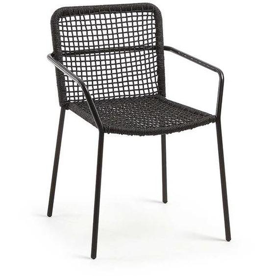 Stühle in Dunkelgrau und Schwarz Kordel Geflecht und Metall (4er Set)