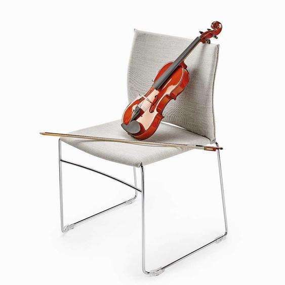 Stühle in Hell Grau Webstoff Metallbügeln (2er Set)