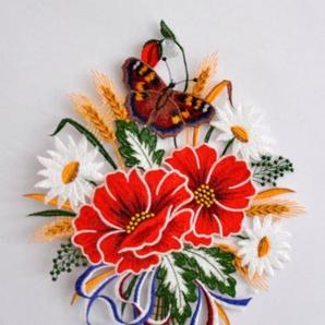 Fensterbild, Stickereien Plauen, »Herbstblumenstrauß«