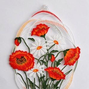 Fensterbild , Stickereien Plauen, »Mohnblumen« mit echter Plauener Spitze Stickerei (1 Stück)