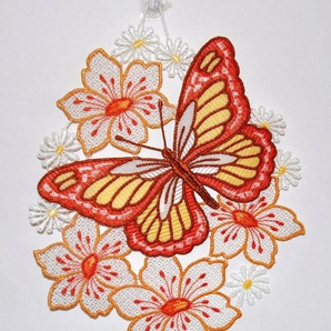 Stickereien Plauen Fensterbild »Schmetterling auf Blume« (1 Stück), Hakenaufhängung