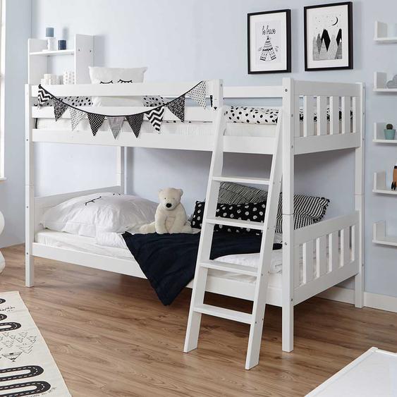 Stockbett in Weiß Buche Massivholz