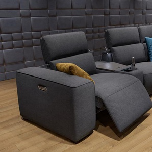 Stoff Couch mit Motor BINETTO 4-Sitzer Relax Funktion