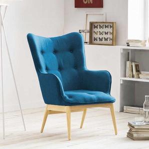 Stoff Sessel in Blau Webstoff Skandi Design