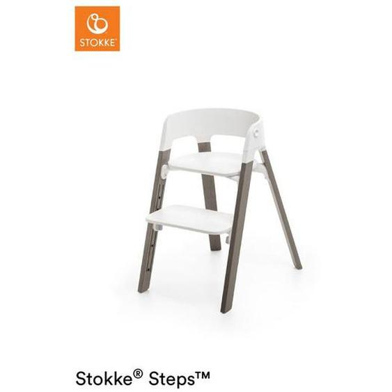 Stokke Kombihochstuhl Buche massiv White Hazy Grey Steps , Weiß , Holz, Kunststoff , 71x61x43 cm