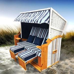 Strandkorb 3-Sitzer Ostsee hellblau gestreift - BRAST