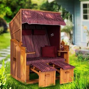 Strandkorb Ostsee XXL burgund - 120 cm breit - Volllieger 2 Sitzer inklusive Schutzhülle, ideal für Garten und Terrasse C burgund - STRANDKORB HANSE