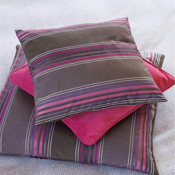 Streifenkissenhülle lila-braun-pink - Braun/Lila/Pink - 72% Baumwolle, 28% Faux Silk - Zierkissen & Polsterrollen  Zierkissen - Kissenbezüge