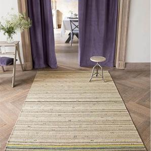 Streifenteppich bunter Rand - Bunt/Natur - 60 % Wolle, 20 % Leinen, 20 % Baumwolle. - Teppiche