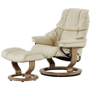 Stressless Relaxsessel mit Hocker creme - Leder Reno L ¦ creme ¦ Maße (cm): B: 88 H: 108 T: 78 Polstermöbel  Sessel  Fernsehsessel » Höffner