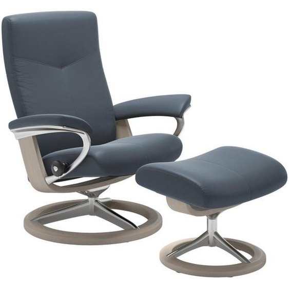 Stressless Relaxsesselset Dover Echtleder Hocker , Blau , Holz, Leder , Buche , Schichtholz , 82x54x101 cm