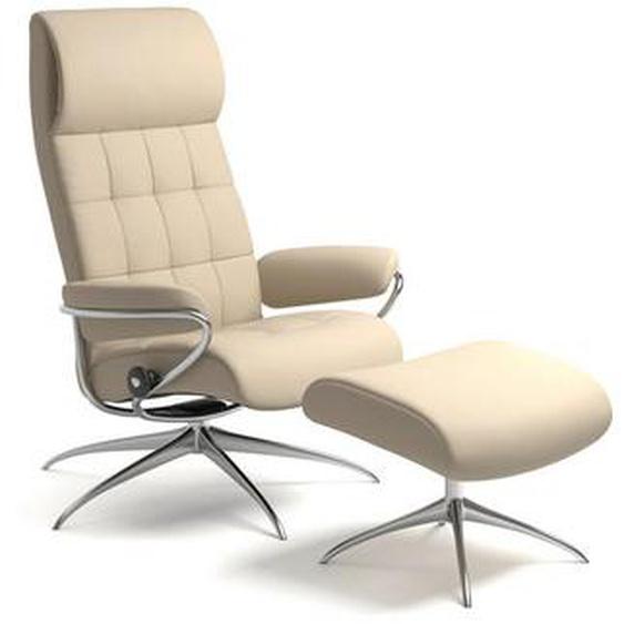 Stressless Relaxsesselset London Echtleder Hocker , Beige , Metall, Leder , 80x115x74 cm