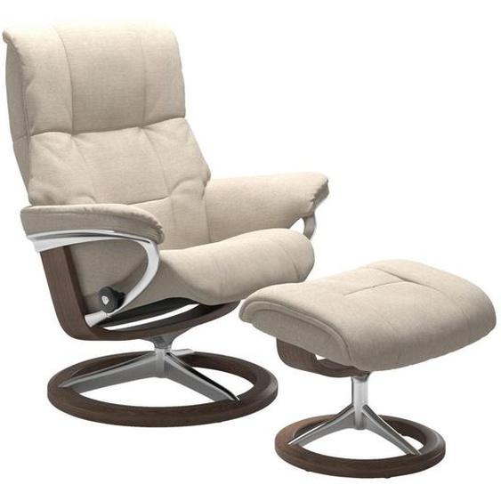 Stressless Relaxsesselset Mayfair Struktur Relaxfunktion, Hocker , Beige , Textil , Walnuss , Schichtholz , 83x102x74 cm