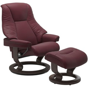 STRESSLESS Sessel mit Hocker M, rot, Leder
