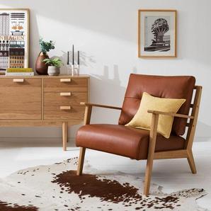 Studio Copenhagen Sessel Timon IV Braun Echtleder 83x80x76 cm (BxHxT)