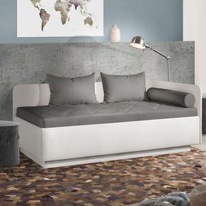 Studioliege Eriko Komfort, weiß, 90x200 cm, mit Lattenrost - mit TTF-Matratze, H2