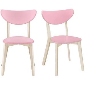Stühle skandinavisch Rosa und helles Holz (2er-Set) LEENA
