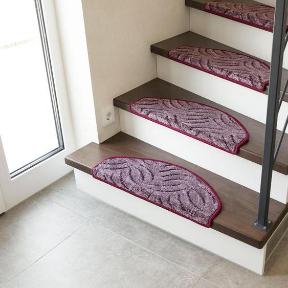 Stufenmatte, Amberg, Andiamo, halbrund, Höhe 9 mm, maschinell getuftet 22, 15x 28x65 cm, mm lila Stufenmatten Teppiche