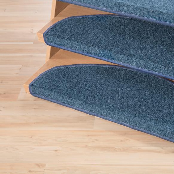 Stufenmatte, Bob, Andiamo, halbrund, Höhe 4,5 mm, maschinell getuftet 22, 15x 65x28 cm, mm blau Stufenmatten Teppiche