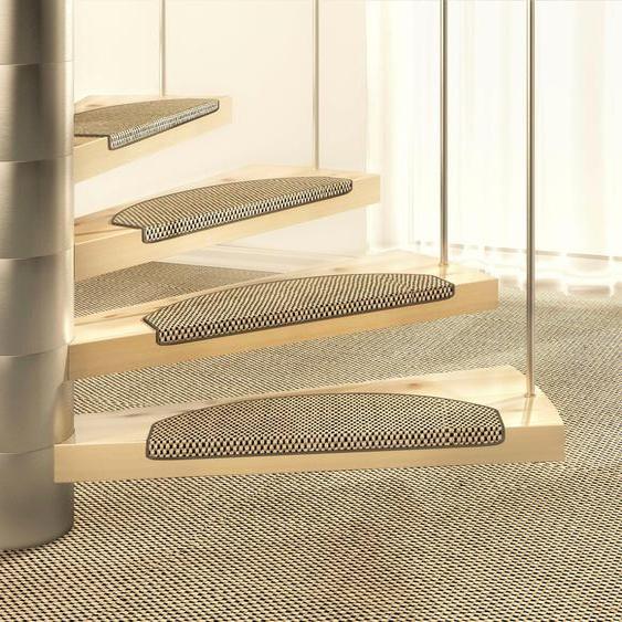 Stufenmatte, Brasil, Dekowe, halbrund, Höhe 10 mm, maschinell gewebt 21, 1x 15x65 cm, mm braun Stufenmatten Teppiche